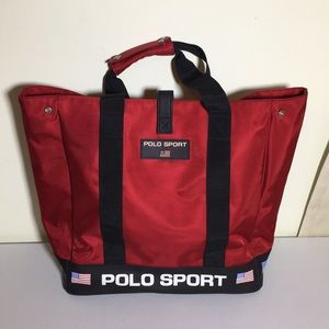 Polo Sport Spellout large red tote VTG